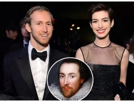 20141222 anne hathaway and her husband looks like shakespear